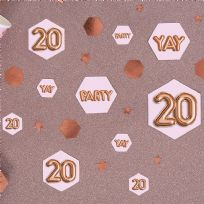Glitz & Glamour Pink & Rose Gold Confetti Scatters 20th (100)